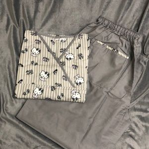 Grey Hello Kitty character Nursing Scrubs set